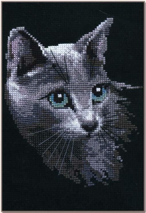 Вышивка серого кота