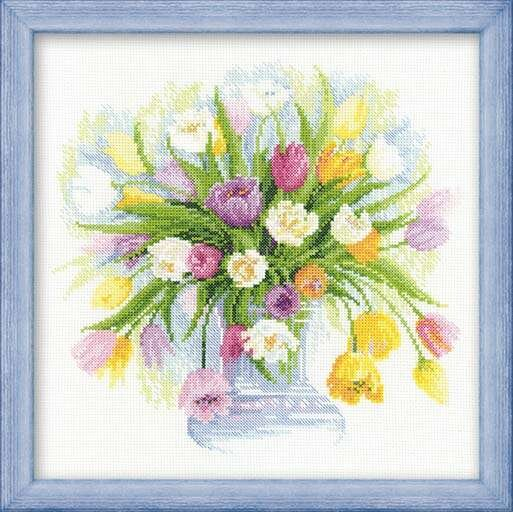 Вышивка риолис акварельные тюльпаны