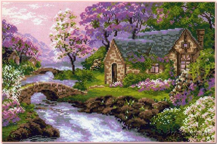 Пейзажи в вышивках крестиком