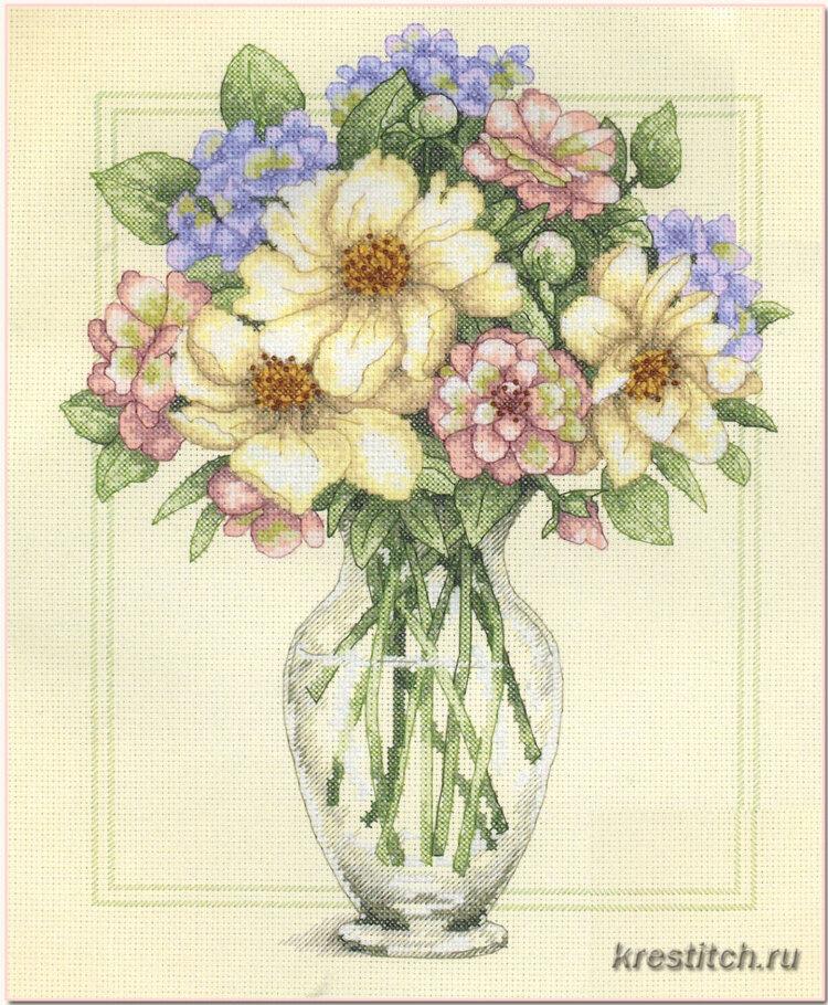 Схемы вышивок ваз для цветов 445